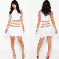 In Stock Spring 2014 Women Ladies Party Sleeveless Dress Club Wear Sexy One Piece Noverty White Striped Dress Vestidos Dress