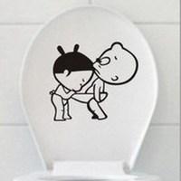 1pcs/lot Lovely Cartoon PVC Creative Toilet Stickers Bathroom Wall Stickers Size 24.3**23.3 Free Shipping 870056