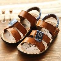 2014 Slip-resistant  child sandals genuine leather cowhide boy's  sandals shoes X166