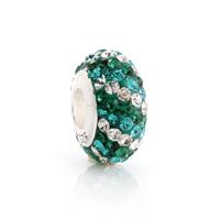 Sz233 925 pure silver bead pendant  jewelry diy  green and white stripe big