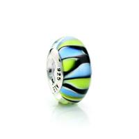 48025 diy   blue green 925 pure silver bead pendant  colored glaze
