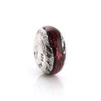 48102 diy   red   foil 925 pure silver bead pendant  colored glaze