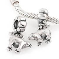 Lw168 premium diy  jewelry polar bear 925 pure silver bead pendant  thread