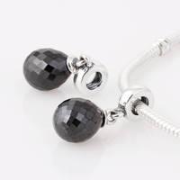 Lw237 premium diy  black crystal fall 925 pure silver bead pendant  thread