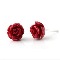 Luxurious Wholesale Genuine 925 sterling silver rose Red agate wedding fashion earrings jewelry for women K8981