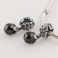 Lw183 premium diy  black crystal  925 pure silver bead pendant  thread
