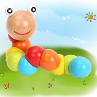 1PC Lovely Multicolour Magical Twisting Insect Child Toys Wooden Puzzle Baby Train Math Toys Baby Fingers Flexibility AY870045