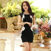 2014 New Fashion Women Clothing Slim Summer Spring Elegant Ladies Dress Size S M L XL Free Shipping