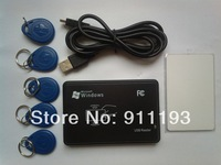 125KHz Black USB Proximity Sensor Smart rfid id Card Reader + 5pcs EM4100 card + 5pcs EM4100 keyfob EM4100,EM4200,EM4305,T5577