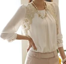 2014 moda de nova mulheres bordados de mangas compridas Chiffon blusas Lady Casual Lace blusa roupas femininas sml XL XXL(China (Mainland))