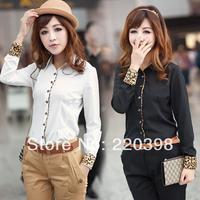 new 2014 Cotton Long Sleeve Office Lady OL Business Leopard Shirt Top Blouse  Black/White 5szie S-XXL 2329