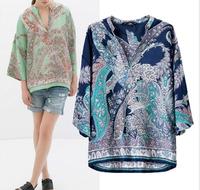 2014 New Women Ladies' Vintage Floral Loose Chiffon Blouse Ethnic 3/4 Batwing Sleeve V-neck Retro ZA Blusas Shirt Tops A199