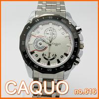 BRAND CAQUO men wrist watch stainless steel material quartz fashion&casual man analog round waterproof watches  three eyes show