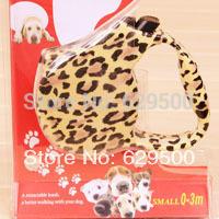 Auto-tractable dog leash 3pcs/lot Leopard color pet lead ropes Wholesale Free shipping