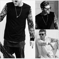 2014 new Fashion trend    personality  cashew print flower sleeves cotton long-sleeve T-shirt 100%  t shirt pyrex skateboard