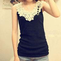 Big Size 2014 Summer Plus Size Clothing 3XL Lace Vest Spaghetti Strap Basic Shirt Female 2XL XXXL