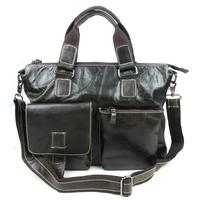 Hot fashion first layer cowhide leather men bag vintage wax oil leather men messenger bag briefcase