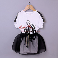 2014 Children Summer Newest Girls Outfit 2 Pcs Baby Cotton T Shirt With Letter Printed And Black Organza Toddle Skirts Infant