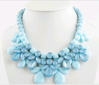 Korean Bohemia Fashion 4 Colors Sweet Candy Exaggerated Big Beaded Crystal Chunky Choker 2014 new Bib Statement Necklaces