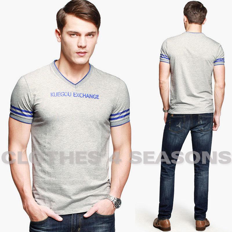 Men Fashion Brand Logo Brand Logo Fashion Men Casual t Shirt Chic Short Sleeve v Neck Sport Tees