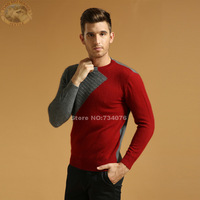 Top quality  Mink cashmere sweaters fur men 2014 new fashion novelty pullover Round collar stitching knitwear Free Shipping