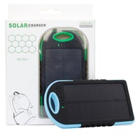 5000mAh Solar Power Bank Charger For iPhones Android Phones GPS Devices Cameras Waterproof Dustproof Shockproof Drop Resistant