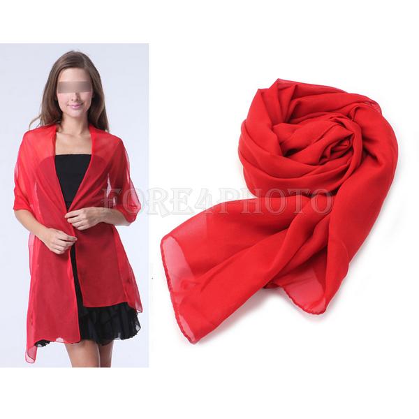 Fashion Lady Women's Long Chiffon Scarf Wraps Soft Neck Head Scarves Red New(China (Mainland))