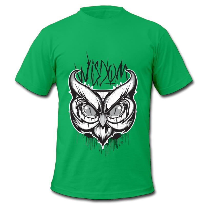 Customize 100% Cotton Men's Tee Shirt wise owl Music Logos Men's Owl T Shirt Promotion Sale(China (Mainland))