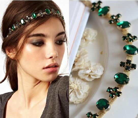 1PC New Green Cross Crystal Alloy Head Chain Headpiece Charm Elastic Hair Band Hair Accessories Free Ship(China (Mainland))