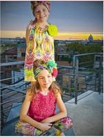 Export high-quality UK design Monsoon brand 2014 New faux silk children's dress girls fashion Printing dress free shippijng