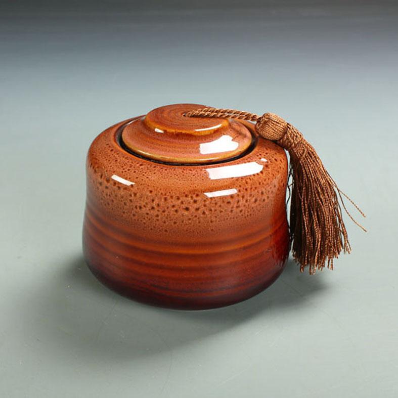 Ceramic tea caddy unique canister storage tank gift decoration thj-004 kiln(China (Mainland))