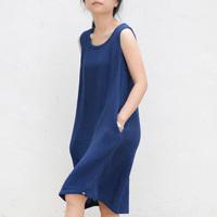 FREE SHIPPING Cotton Bubble Tank dress Summer Loose Sleeveless MIdguts Women Dress