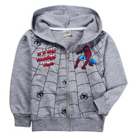 Free Shipping Children Outerwear Boys Jackets Cotton Clothes Tops Spider-Man Coat 100% cotton 14027537
