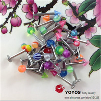 Wholesale fashion classic body piercing labret lip piercing jewelry arcylic ball and cone stainless steel 60pcs a lot
