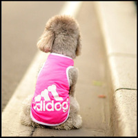 New 2014 Pet Dog Clothes 3 Colours Pink Vest With Adidog And Bone Print Lovely T Shirt For Dog Summer Daily Wear