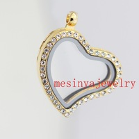 10pcs best quality PVD gold curved heart czech crystal crystal glass locket for floating charms