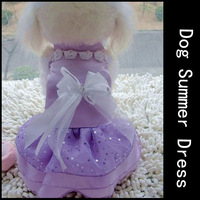 New 2014 Pet Dog Clothes Purple Lace Dress With Bows And Flower Neck Princess Dresses For Dog Wedding Wear