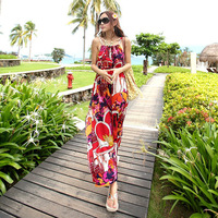 2014 Special Offer None Cute New Women Tops Beach Longs Maxi Dresses Summer Floral Print Spaghetti Strap Chiffon Bodycon Dress