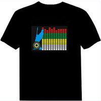FREE SHIPPING Luminous t-shirt el t-shirt sound control led t-shirt light clothes
