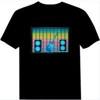 FREE SHIPPING El light clothes music t-shirt flash t-shirt voice activated t-shirt luminous t-shirt sztdt820
