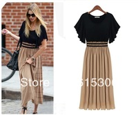 Free shipping women summer dress European style chiffon stitching large size women knitted waist was thin short-sleeved dress