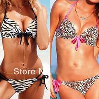 Free Shipping 2014 new Fringe bikini Leopard Bikini Set zebra stripe swimsuit Women push up bikini victoria swimwear #05