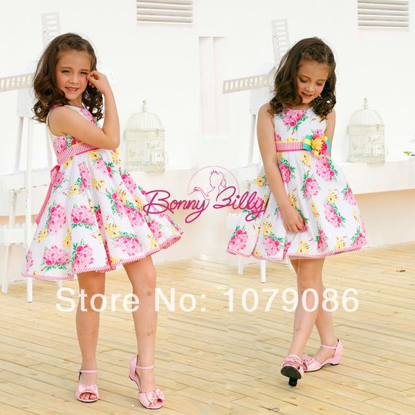 bonny billy sleeveless printed cotton vestido flower girl dresses for princess girls (free shipping)(China (Mainland))
