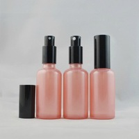 50g pink color glass bottle with lotion pump ,moroccan oil pump glass containers, cream pump glass bottles