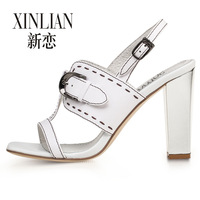 Free Shipping! Summer leather metal buckle sandals thick heel shallow mouth sandals