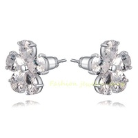 18k White Gold GP Crystals Zircon CZ Flower Earrings Studs For Chrismas/Wedding Gift KKE2615