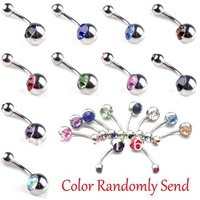 50pcs Mix Color Stainless Steel Rhinestone Belly Button Navel Ring with Double Gem Body Piercing Jewelry Wholesale Free Shipping