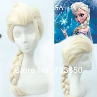 2014 Frozen Princess Elsa Cosplay Wig With Ponytails White Synthetic  Full Wigs  Cosplay  Pl-309  Snow Frozen European Wigs
