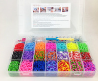 36sets 2014 New Box Crazy Loom Bands kit 4200 bands 120 S-Clips 21 Colors Silicone Bands With Storage Box DIY colorful Bracelet