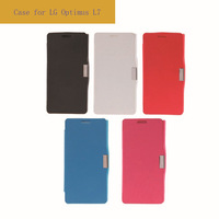 Brushed Texture Horizontal Flip Magnetic Buckle Leather Protective Case with Holder for LG Optimus L7